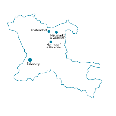 Karte vom Salzburger Flachgau, zeigt die Standorte von Friseur by Haas ind Henndorf, Neumarkt und Köstendorf bei Salzburg